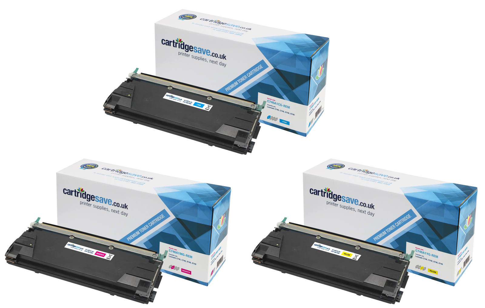 Compatible 3 Colour Lexmark C746 Toner Cartridge Multipack - (C746A1CG/ C746A1MG/ C746A1YG)