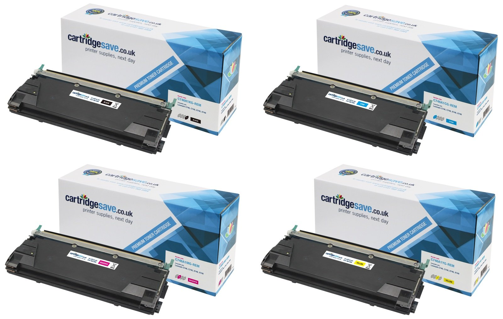 Compatible 4 Colour Lexmark C746 Toner Cartridge Multipack - (C746H1KG/ C746A1CG/ C746A1MG/ C746A1YG)