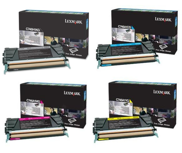 Genuine 4 Colour Return Program Lexmark C746 Toner Cartridge Multipack - (C746H1KG/ C746A1CG/ C746A1MG/ C746A1YG)