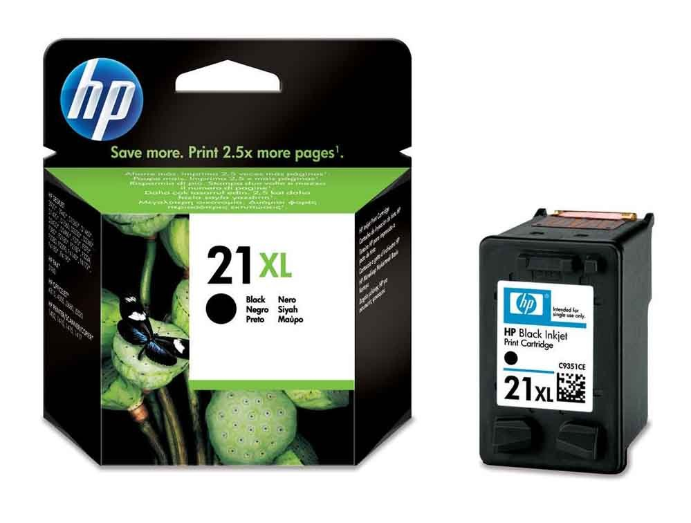 Genuine High Capacity Black HP 21XL Ink Cartridge - (C9351CE)