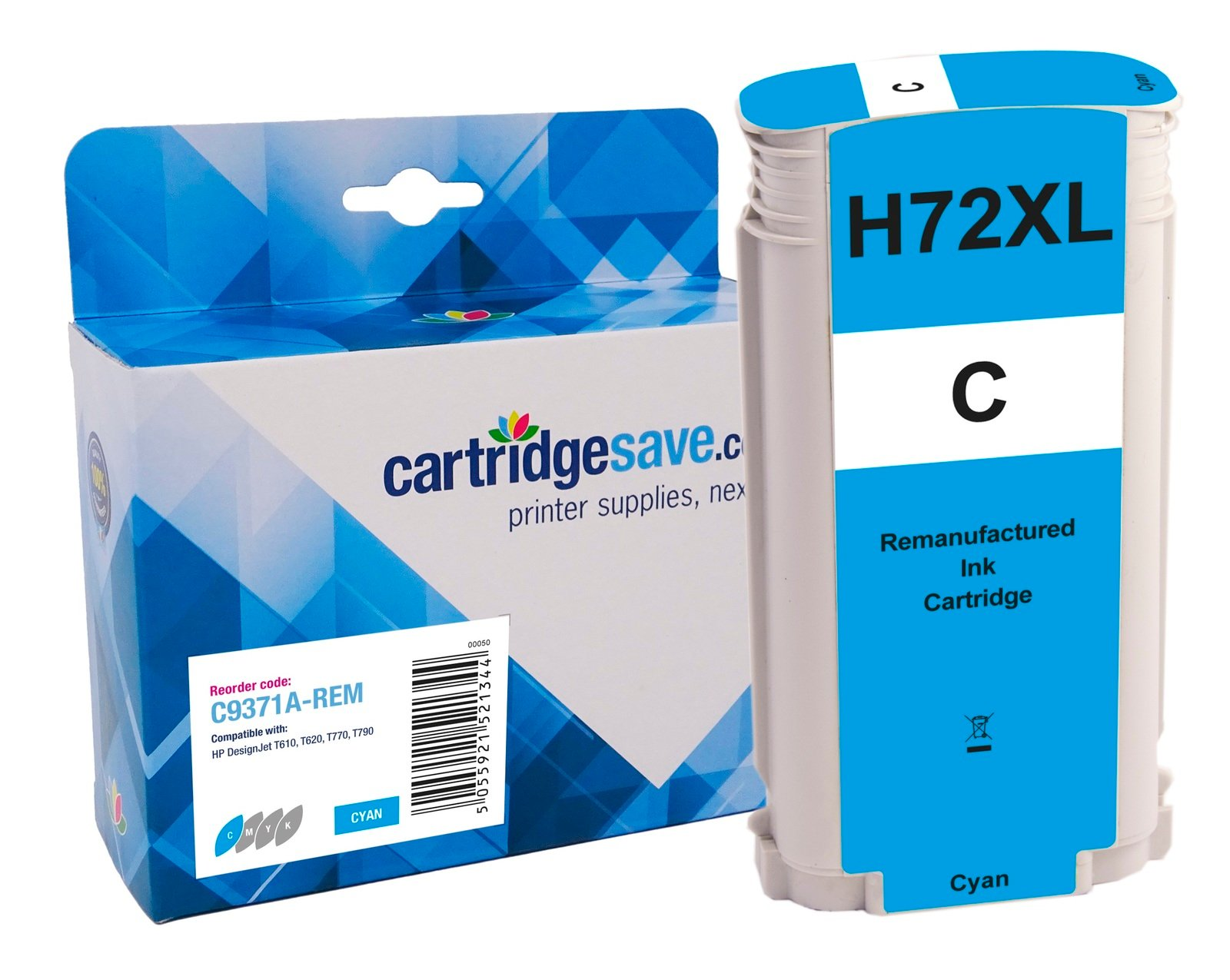 Compatible High Capacity Cyan HP 72 Ink Cartridge - (Vivera C9371A)