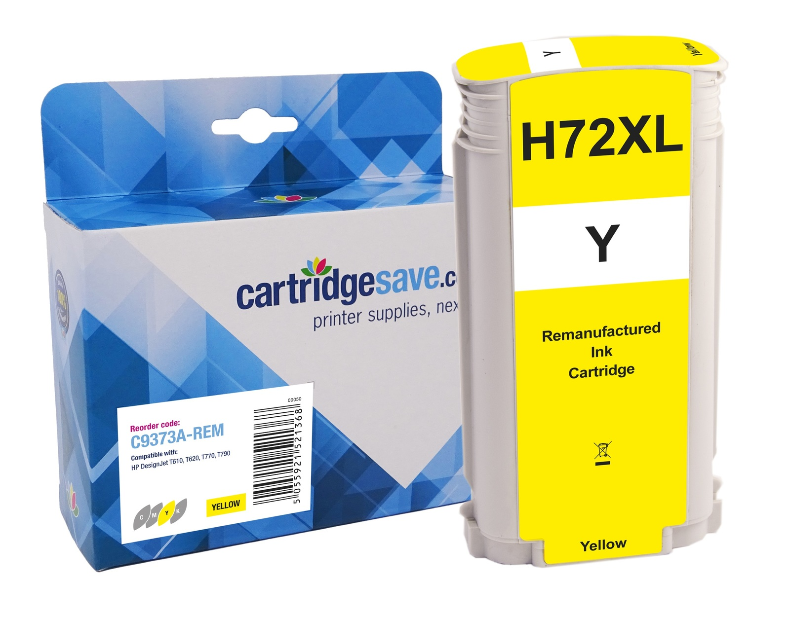 Compatible High Capacity Yellow HP 72 Ink Cartridge - (Vivera C9373A)