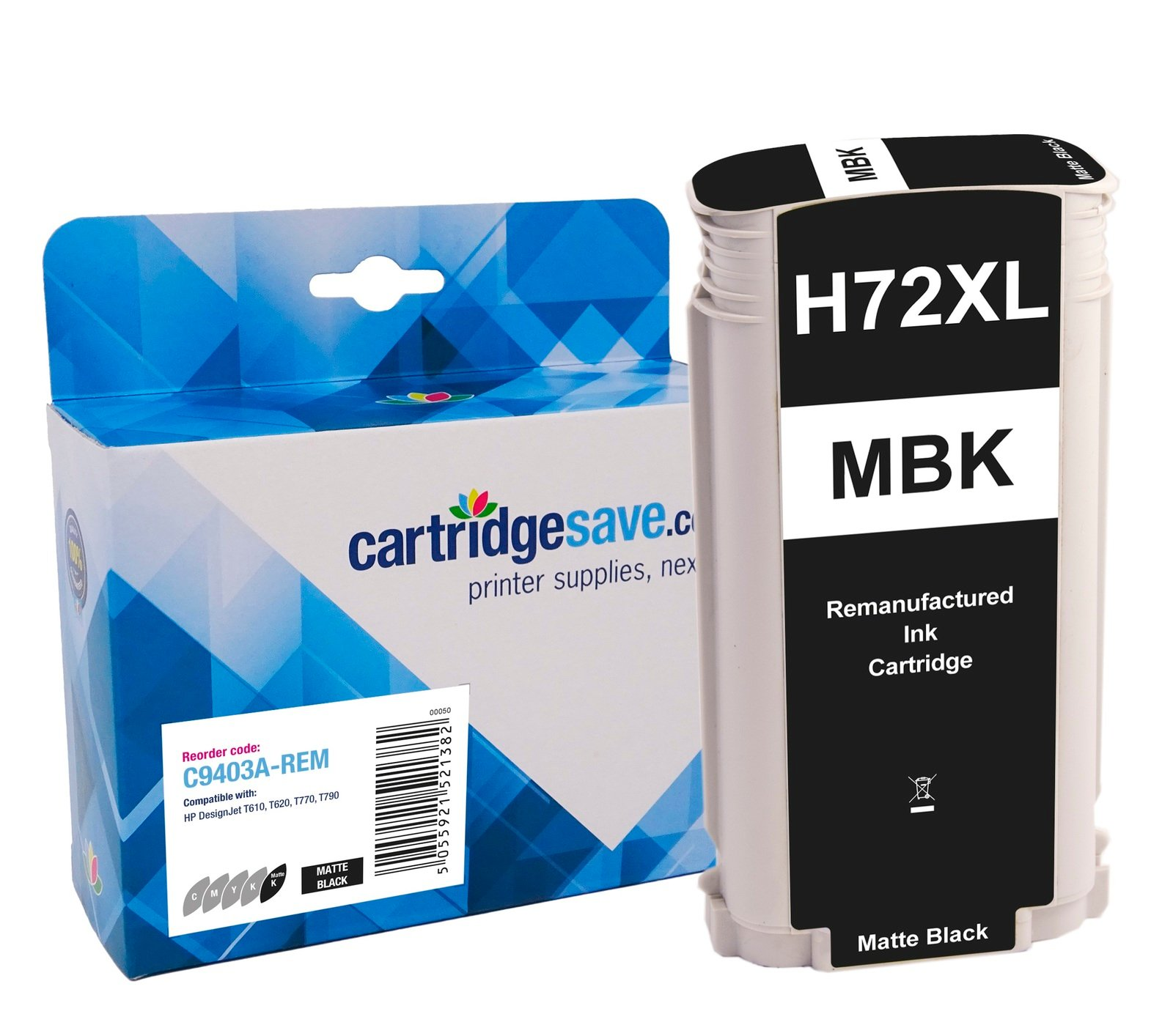 Compatible High Capacity Matte Black HP 72 Ink Cartridge - (Vivera C9403A)