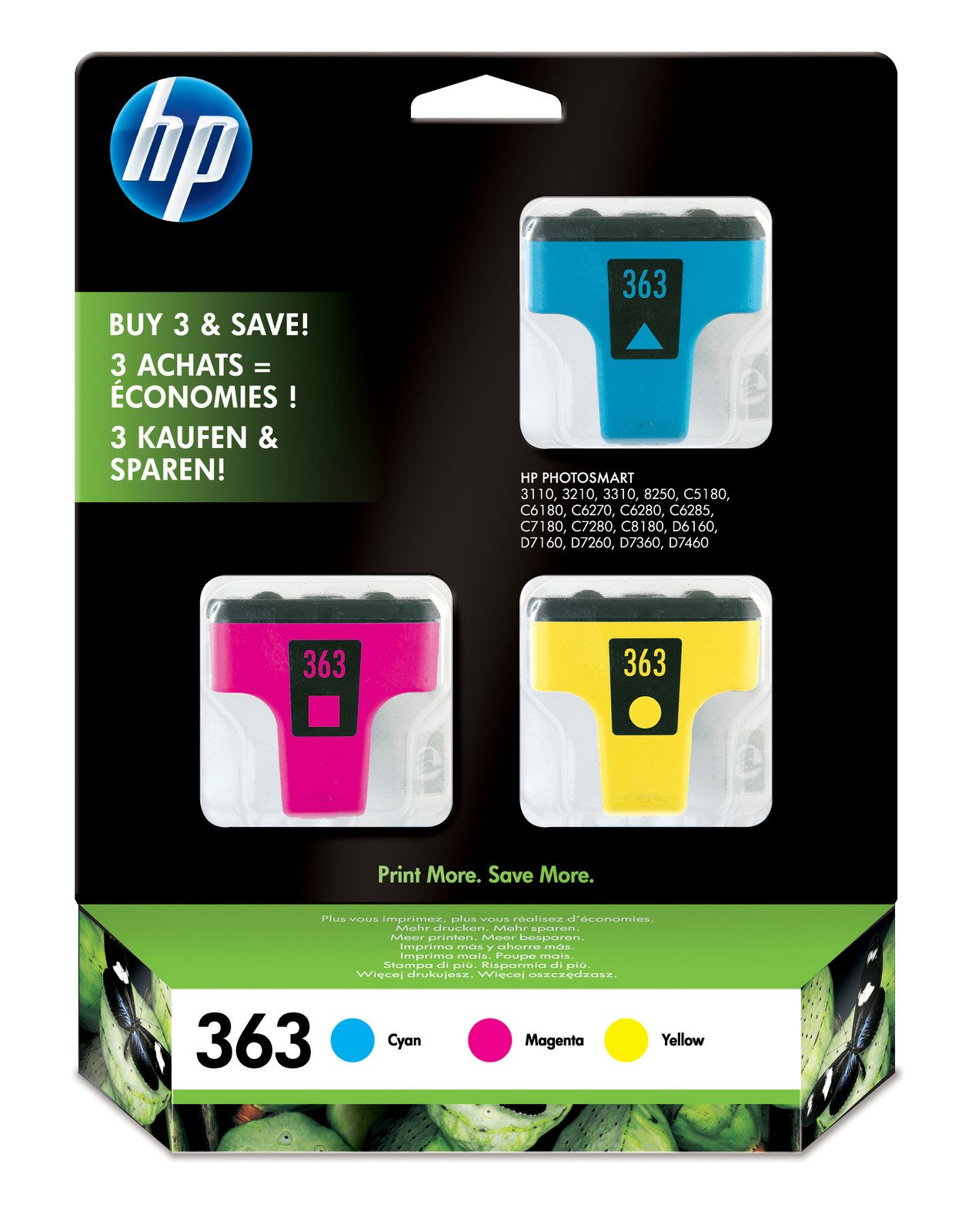 Genuine 3-Colour Multipack HP 363 Ink Cartridge - (CB333EE)