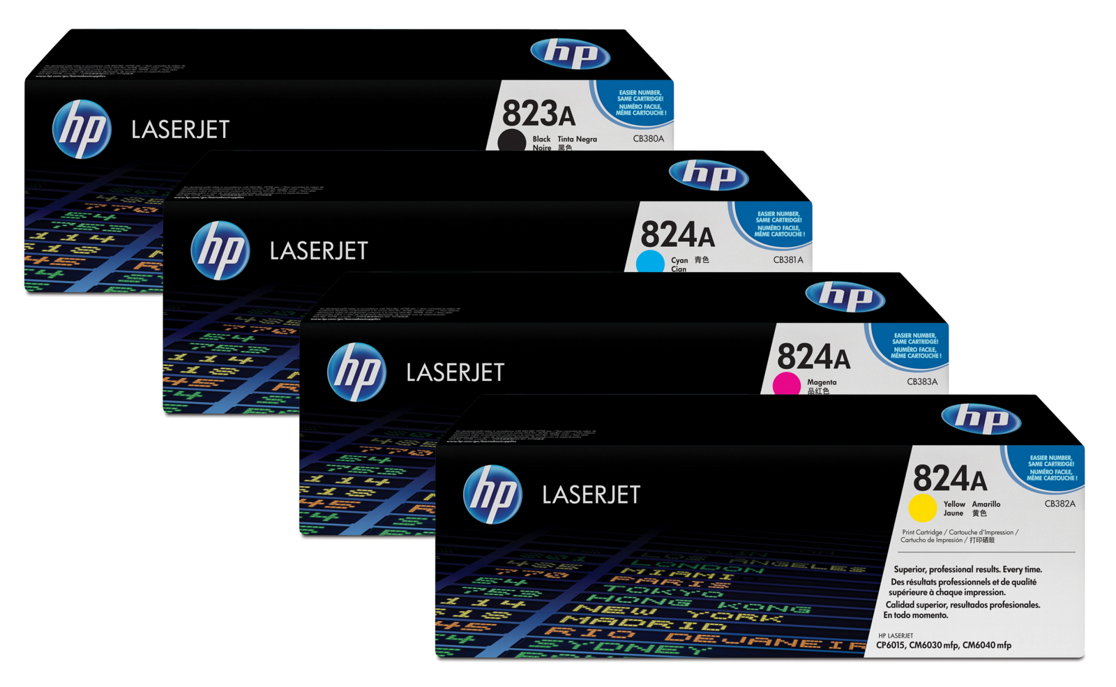 Genuine 4 Colour HP 823A / HP 824A Toner Cartridge Multipack - (CB380A/CB381A/CB383A/CB382A)