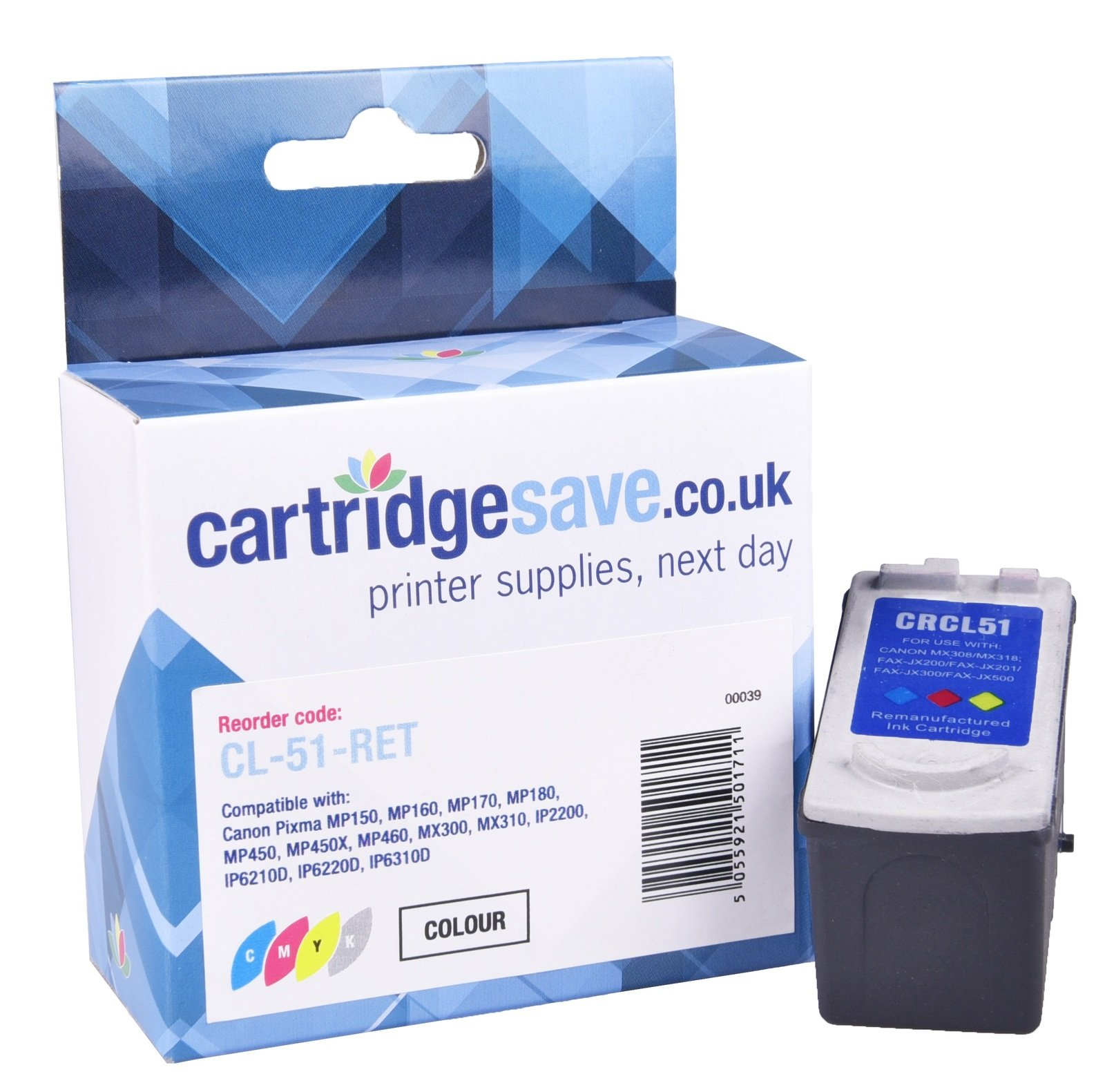 Compatible High Capacity Tri-Colour Canon CL-51 Ink Cartridge - (Replaces Canon 0618B001 Ink Cartridge)