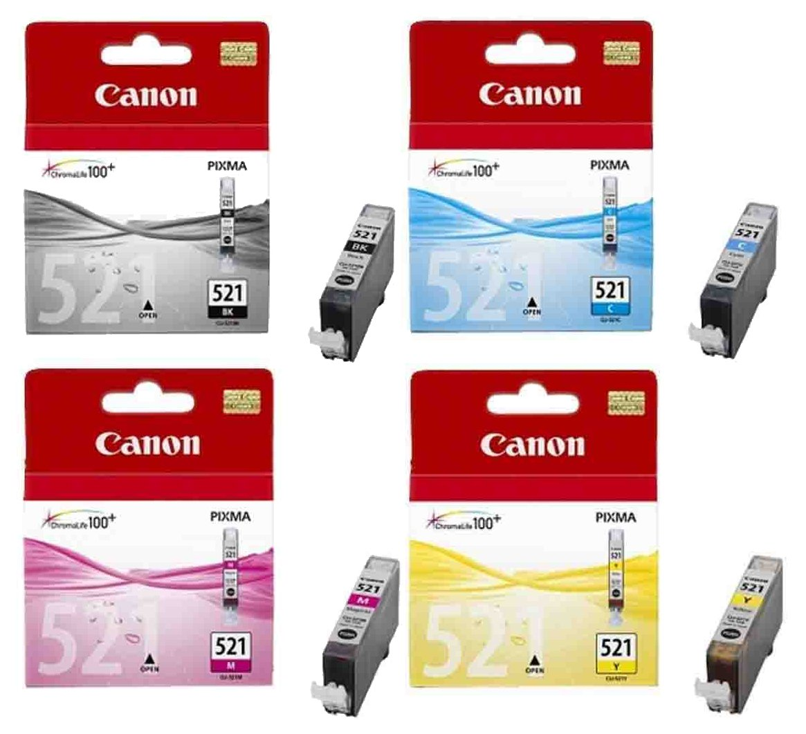 Genuine 4 Colour Canon CLI-521 Ink Cartridge Multipack - (CLI-521BK/ CLI-521C/ CLI-521M/ CLI-521Y)