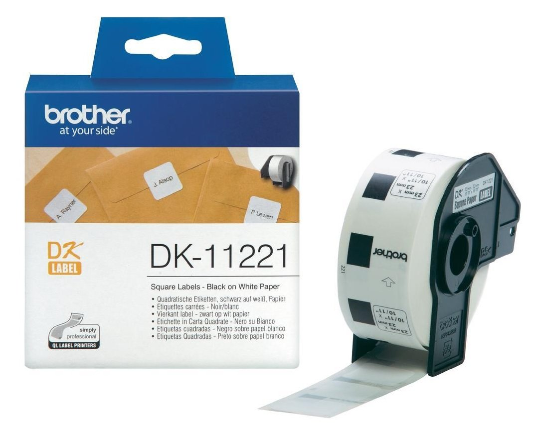 Genuine Brother 1000x DK-11221 Square Black On White 23mm x 23mm Paper Labels (DK11221 Tape)