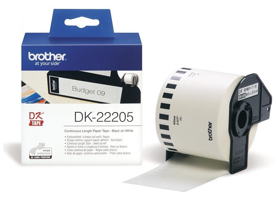 Genuine Brother Black On White DK-22205 62mm x 30.48m Continuous Tape Paper (DK22205 Tape)