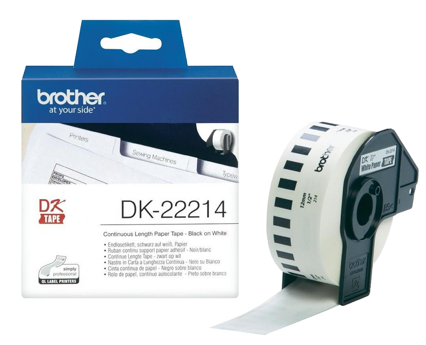 Genuine Brother Black On White DK-22214 12mm x 30.48m Continuous Adhesive Tape Paper (DK22214 Tape)