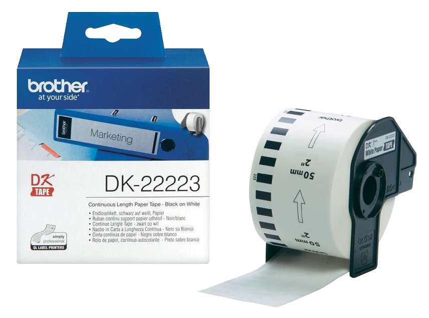 Genuine Brother Black On White DK-22223 50mm x 30.48m Continuous Tape Paper (DK22223 Tape)