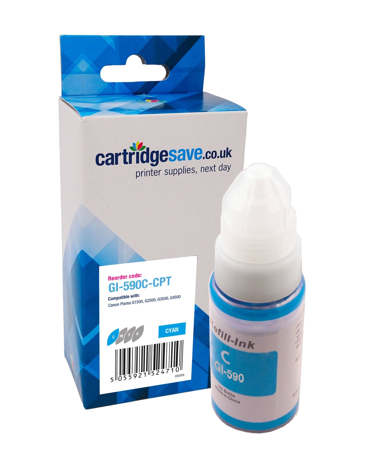 Compatible Cyan Canon GI-590C Ink Bottle - (1604C001)
