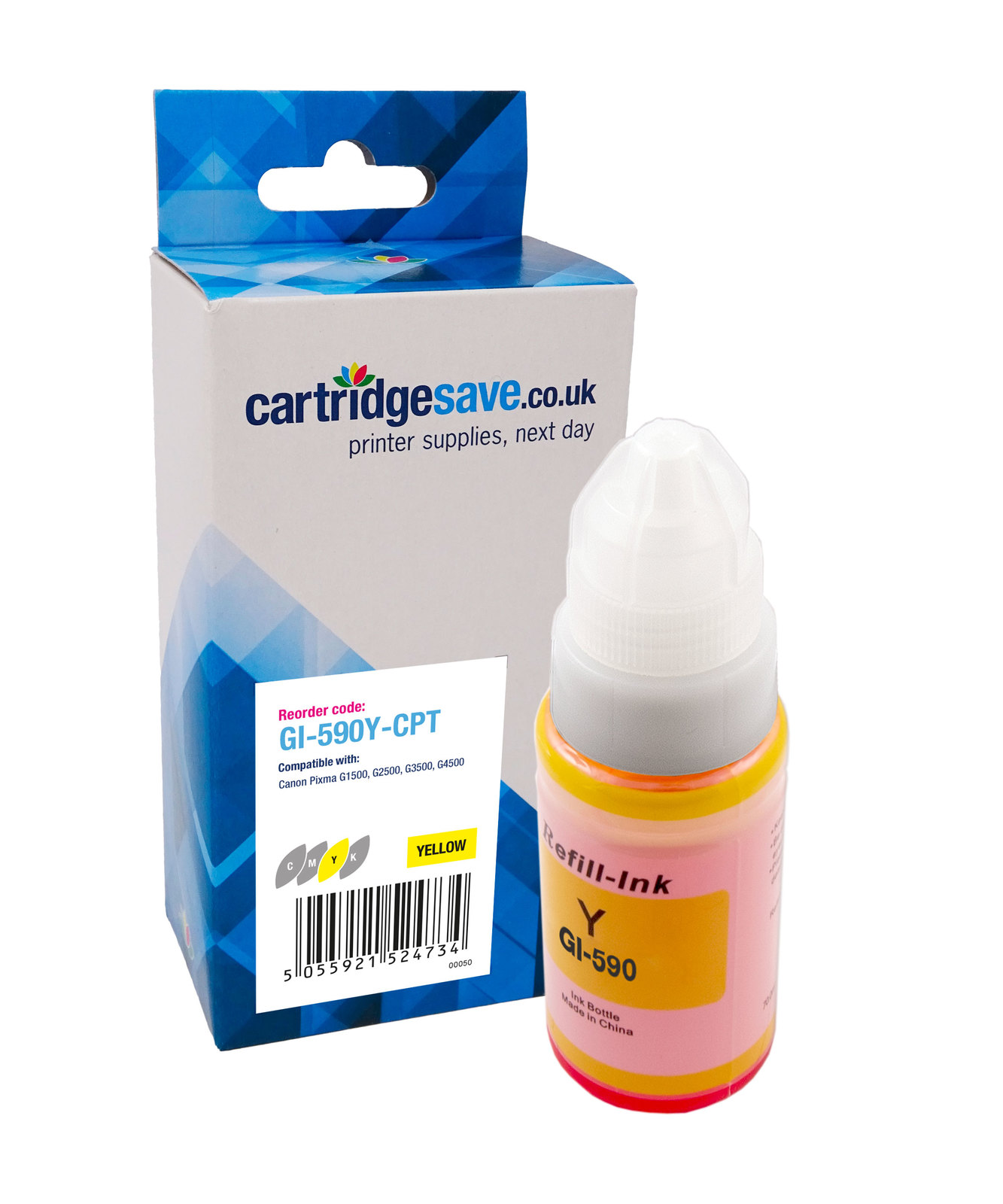 Compatible Yellow Canon GI-590Y Ink Bottle - (1606C001)