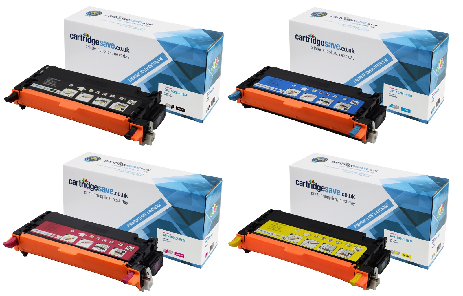 Compatible High Capacity 4 Colour Dell H51 Toner Cartridge Multipack - (593-10289/10290/10291/10292)