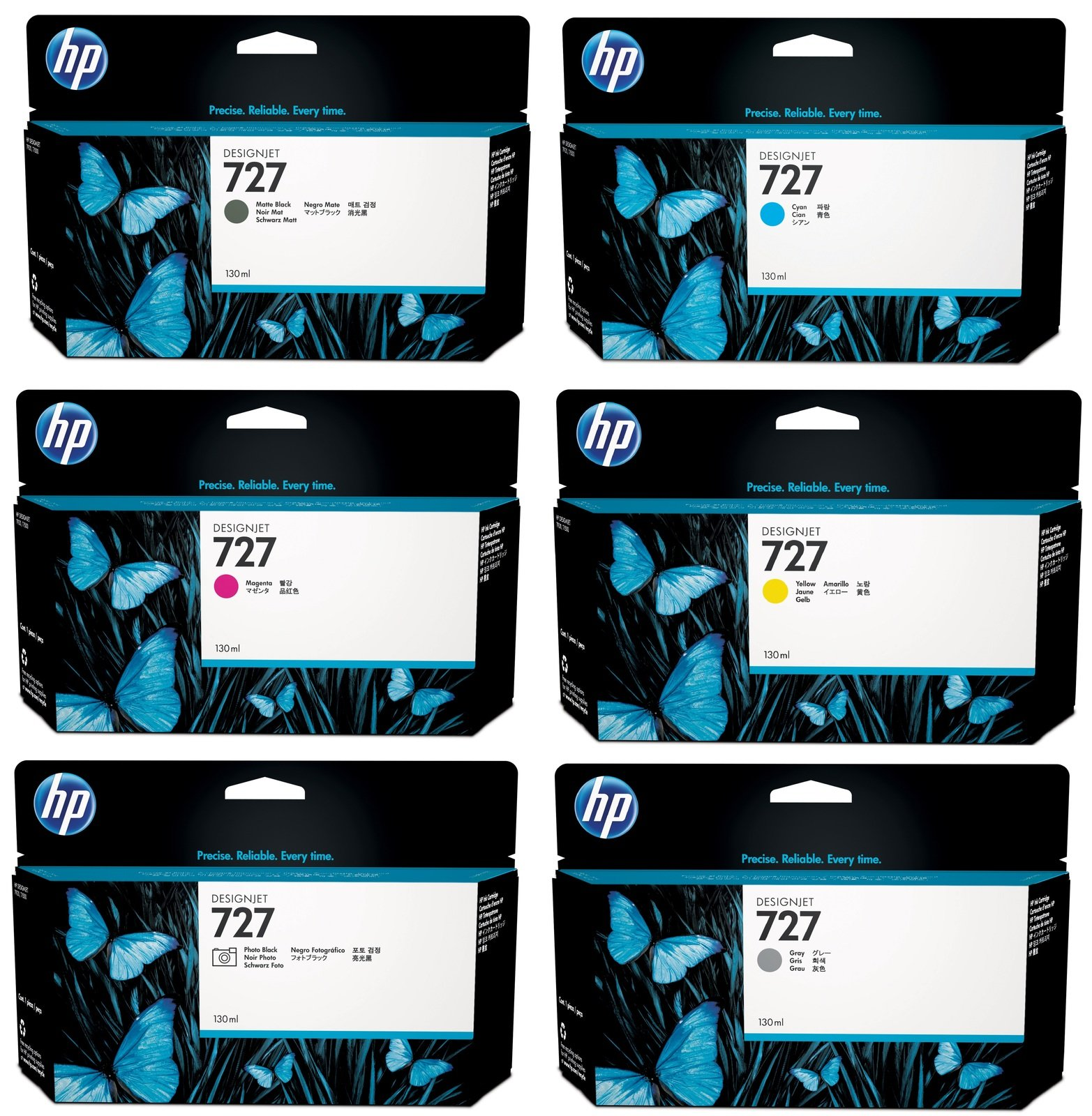 Genuine High Capacity 6 Colour HP 727 Ink Cartridge Multipack - (B3P19A/B3P20A/B3P21A/B3P22A/B3P23A/B3P24A)
