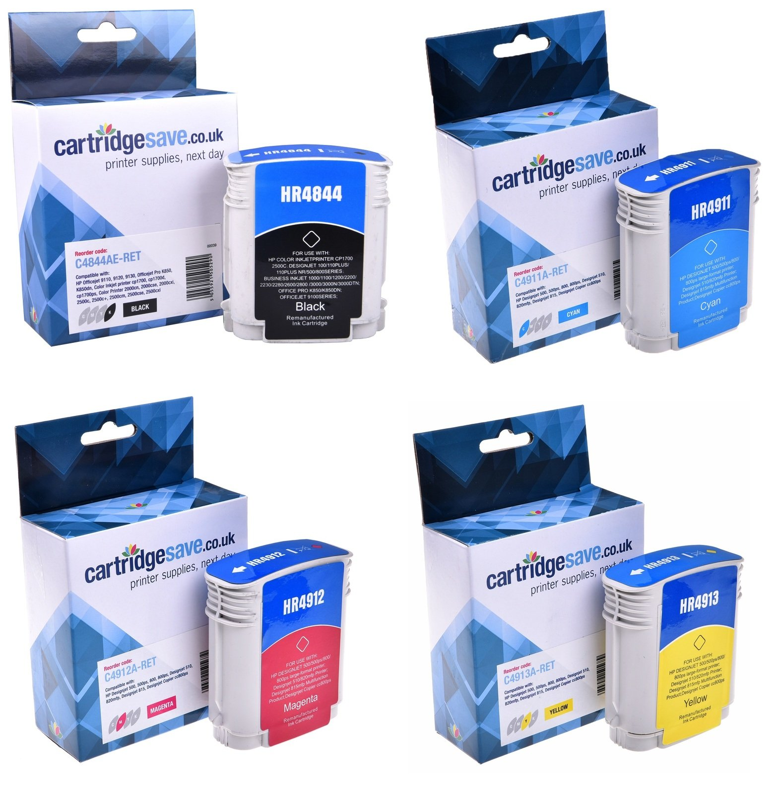 Compatible 4 Colour HP 10 / HP 82 Printer Cartridge Multipack - (C4844AE/C4911A/C4912A/C4913A)