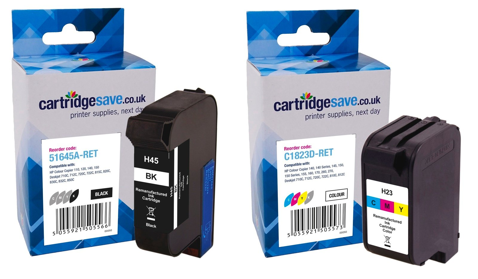 Compatible High Capacity Black & Tri-Colour HP 45 / 23 Ink Multipack - (Replaces HP 51645A & HP C1823D)