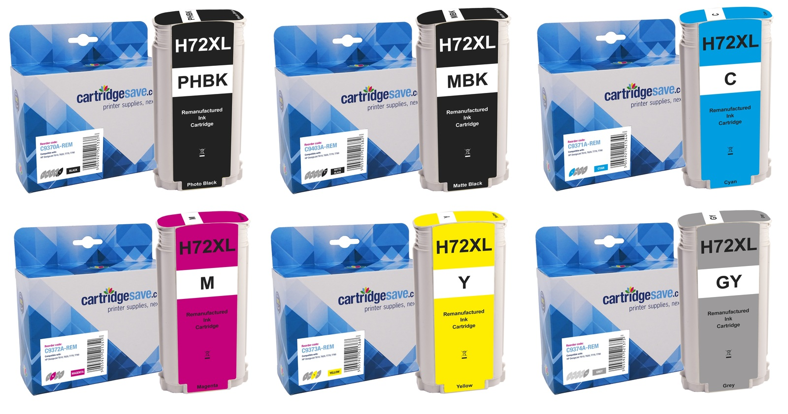 Compatible High Capacity 6 Colour HP 72 Ink Cartridge Multipack - (C9403A/ C9370A/ C9371A/ C9372A/ C9373A/ C9374A)
