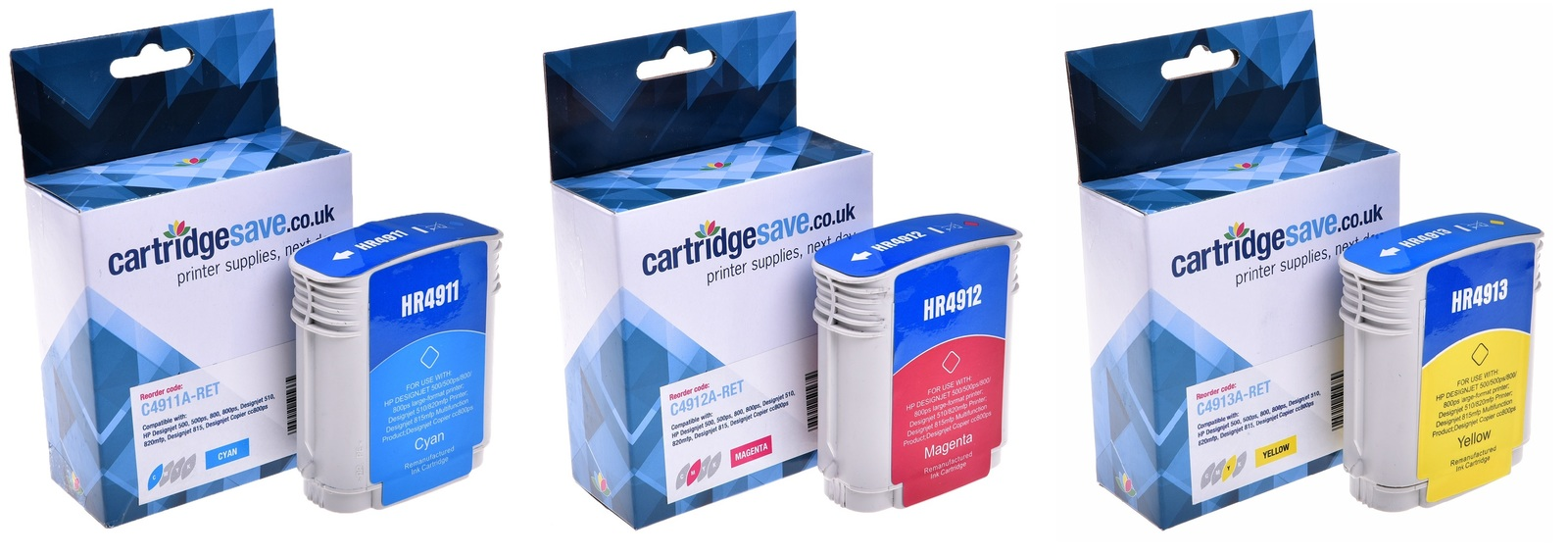 Compatible High Capacity 3 Colour HP 82 Ink Cartridge Multipack - (C4911A/C4912A/C4913A)