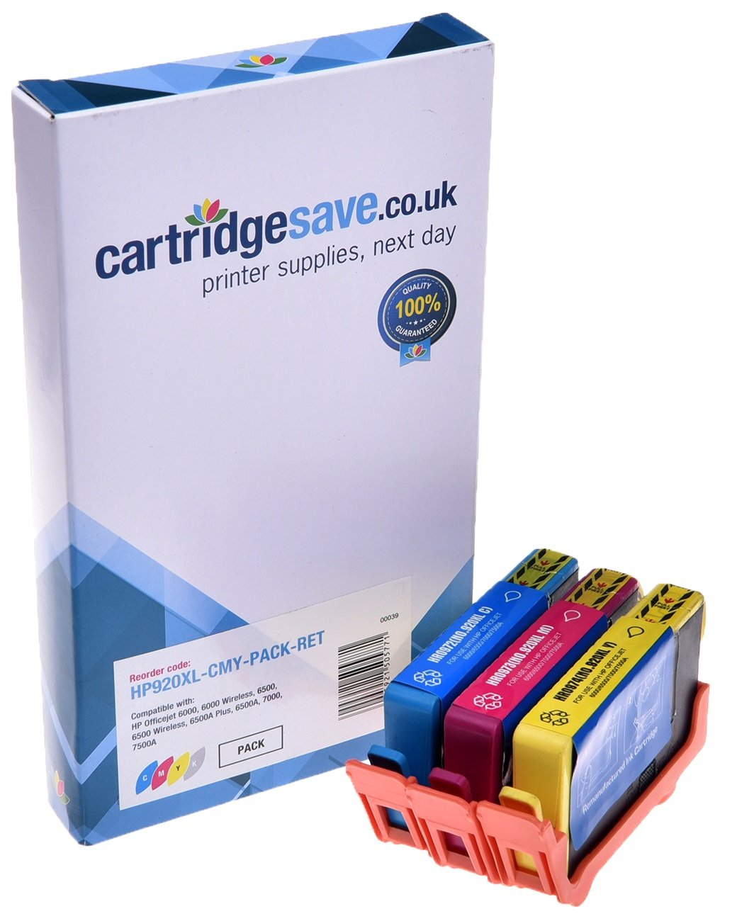 Compatible High Capacity 3 Colour HP 920XL Ink Cartridge Multipack - (Replaces HP CD972AE/CD973AE/CD974AE)