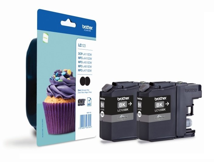 Genuine Black Brother LC123BK Ink Cartridge Twin Pack (LC123BKBP2)
