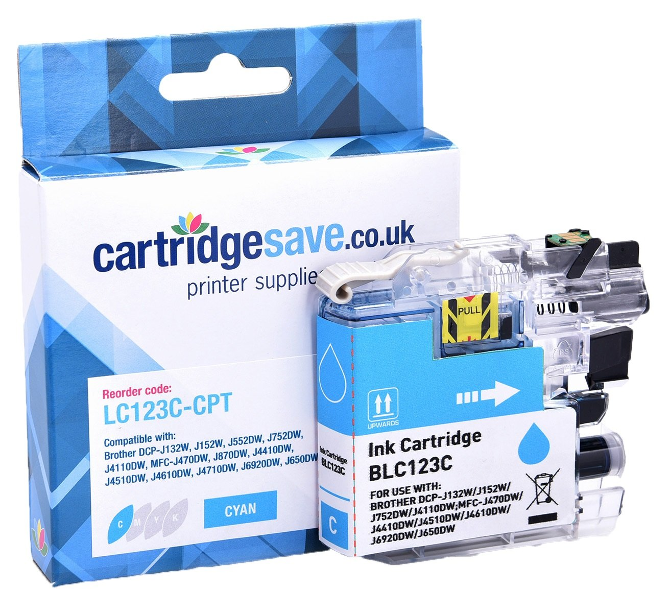 Compatible Brother LC123C Cyan Ink Cartridge (LC-123C Inkjet Printer Cartridge)