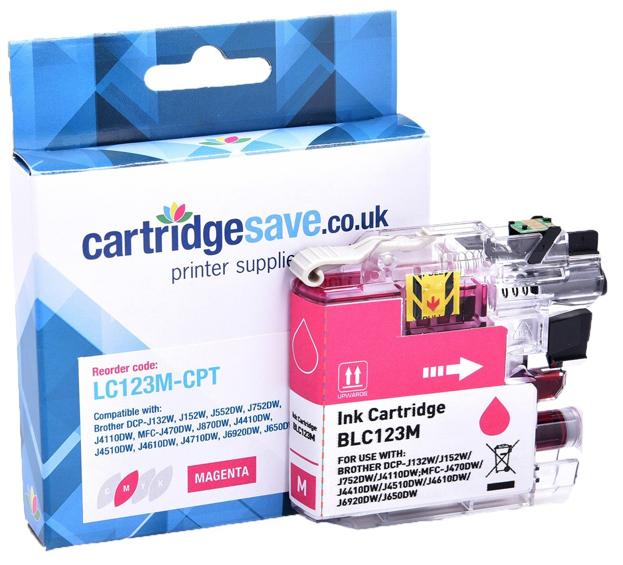 Compatible Brother LC123M Magenta Ink Cartridge (LC-123M Inkjet Printer Cartridge)
