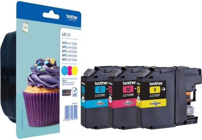 Genuine Brother LC123 3 Colour Ink Cartridge Multipack (LC-123C/LC-123M/LC-123Y)