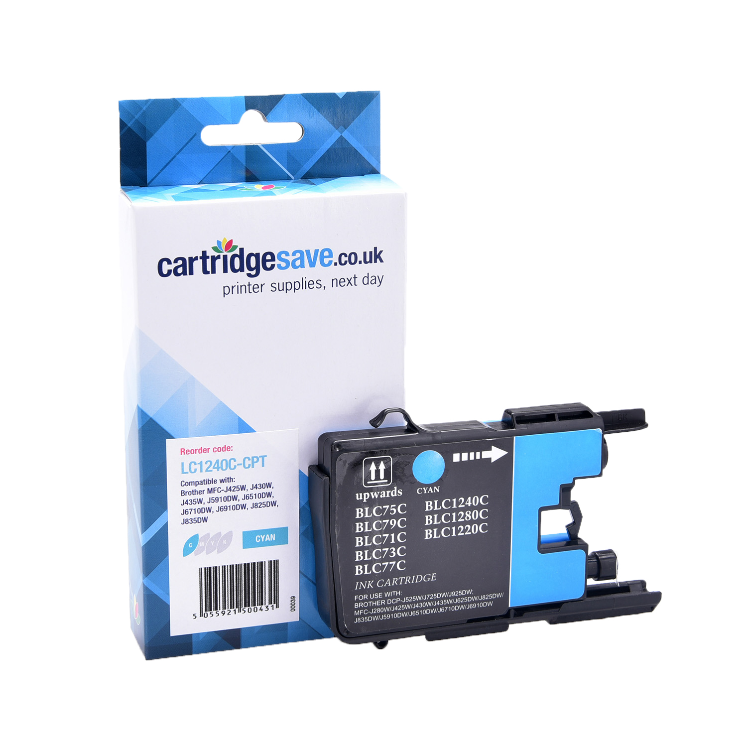 Compatible Cyan Brother LC1240C Ink Cartridge (Replaces LC-1240C Inkjet Printer Cartridge)