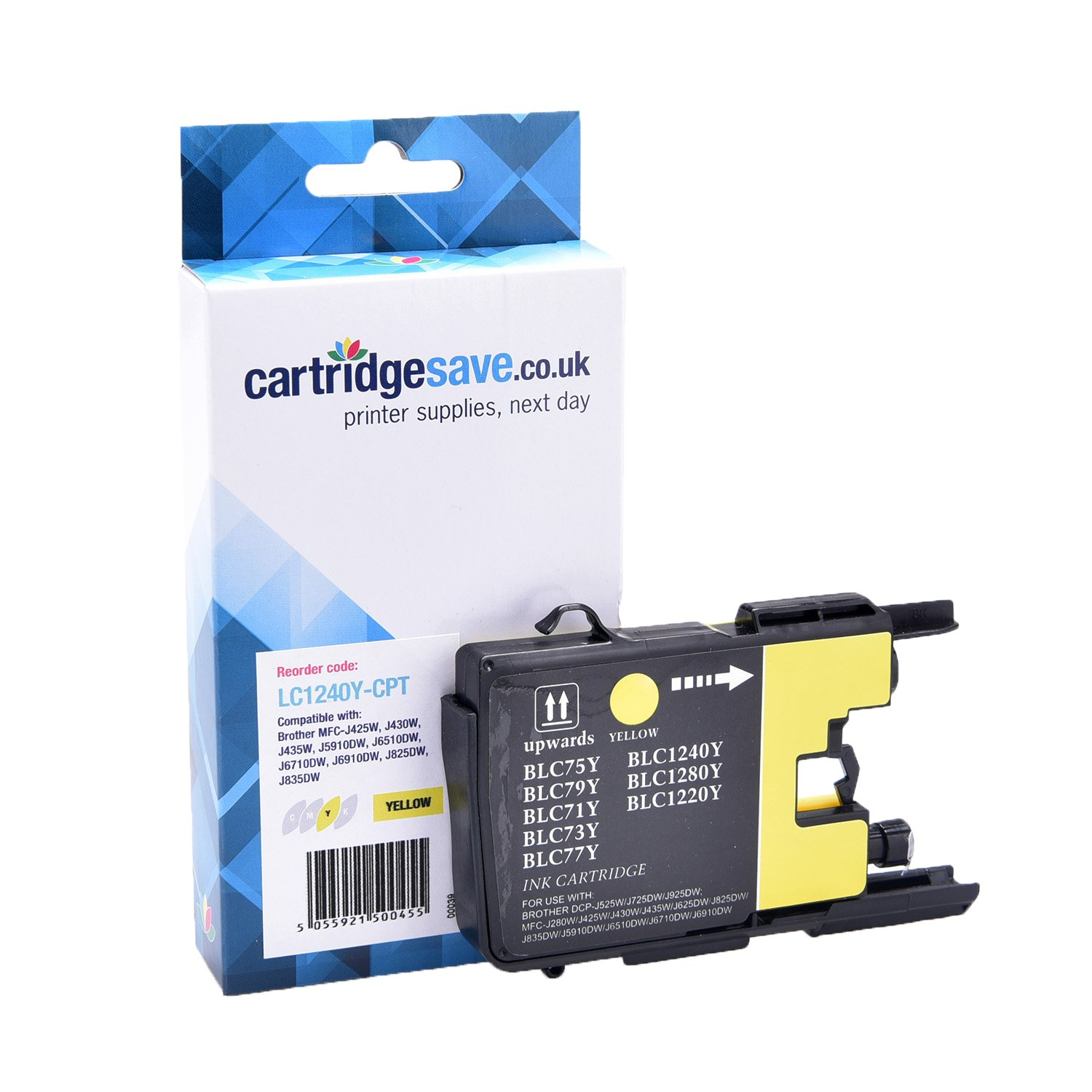 Compatible Yellow Brother LC1240Y Ink Cartridge (Replaces LC-1240Y Inkjet Printer Cartridge)