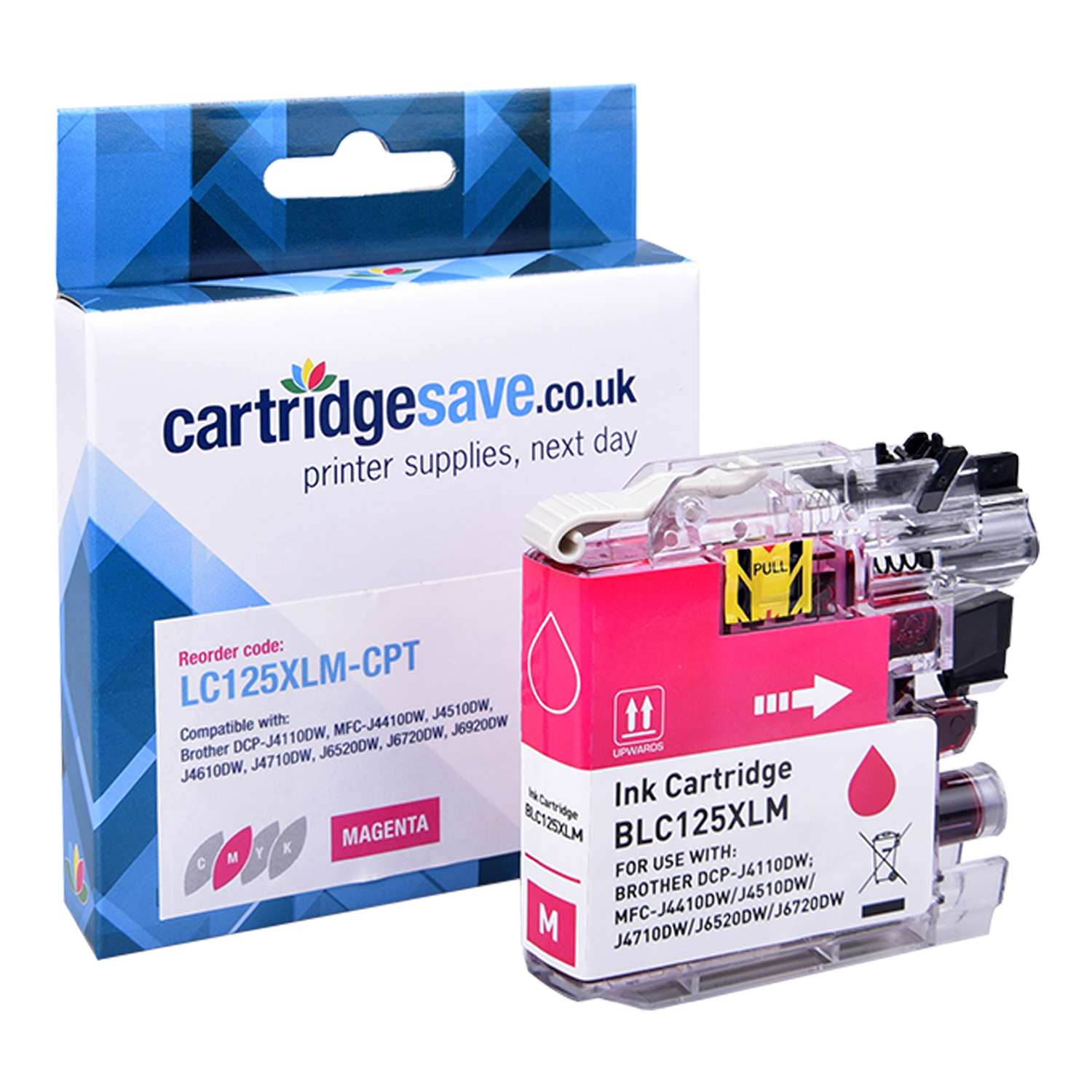 Compatible Brother LC125XL High Capacity Magenta Ink Cartridge (LC-125XLM Inkjet Printer Cartridge)