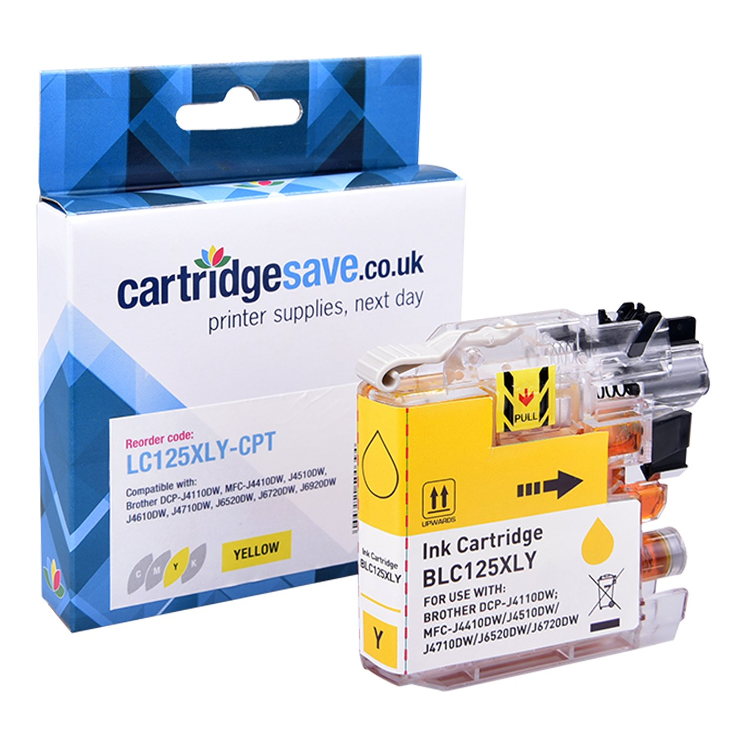 Compatible Brother LC125XL High Capacity Yellow Ink Cartridge (LC-125XLY Inkjet Printer Cartridge)