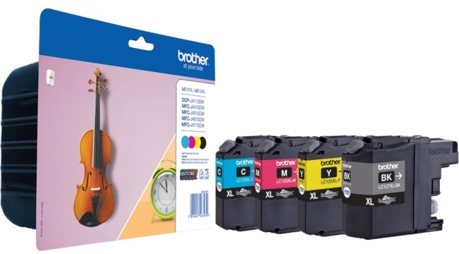 Genuine Brother LC127XL / LC125XL High Capacity 4 Colour Ink Multipack (LC127XLBK/ LC125XLC/ LC125XLM/ LC125XLY Ink Cartridges)
