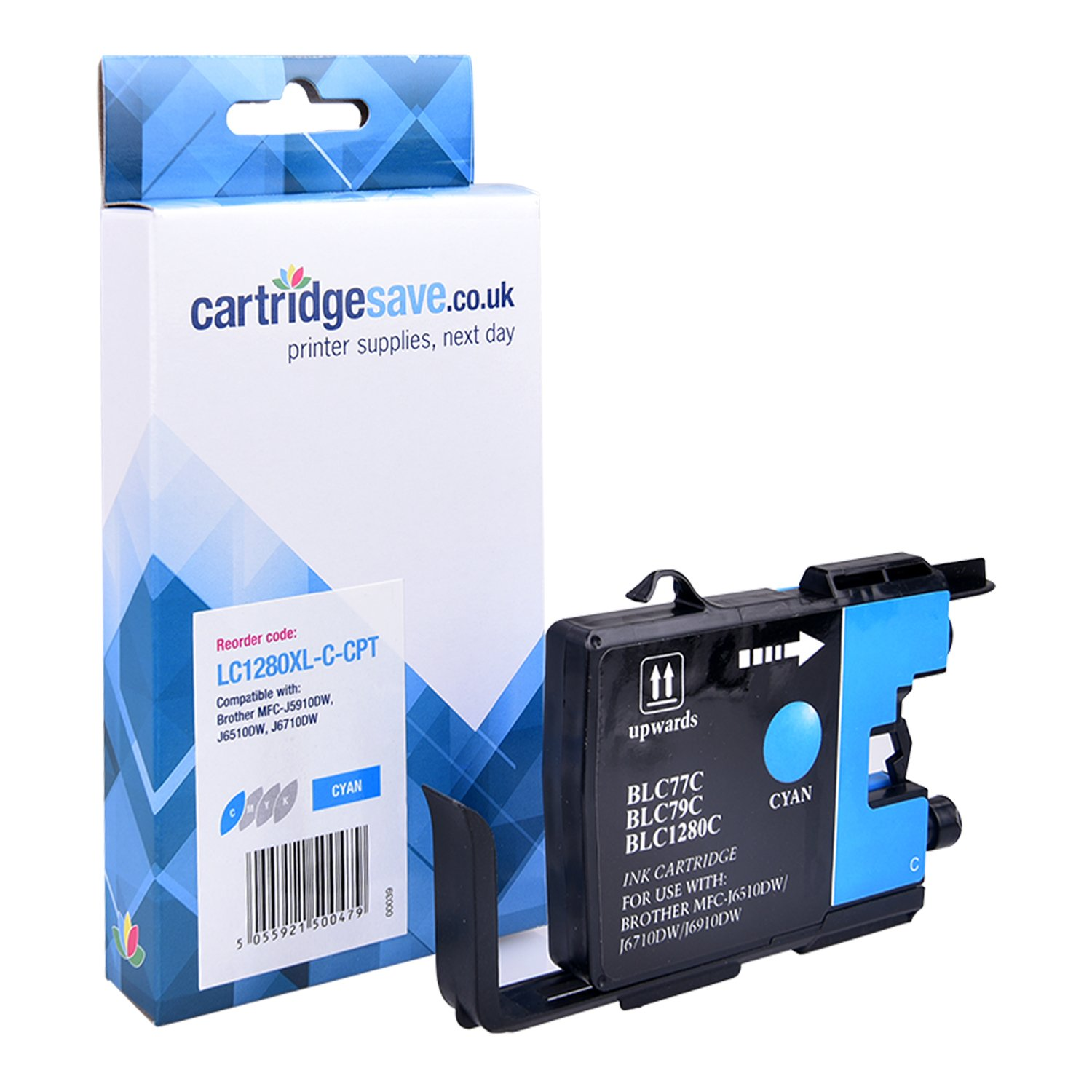 Compatible High Capacity Cyan Brother LC1280XL-C Ink Cartridge (Replaces LC-1280XLC Inkjet Printer Cartridge)