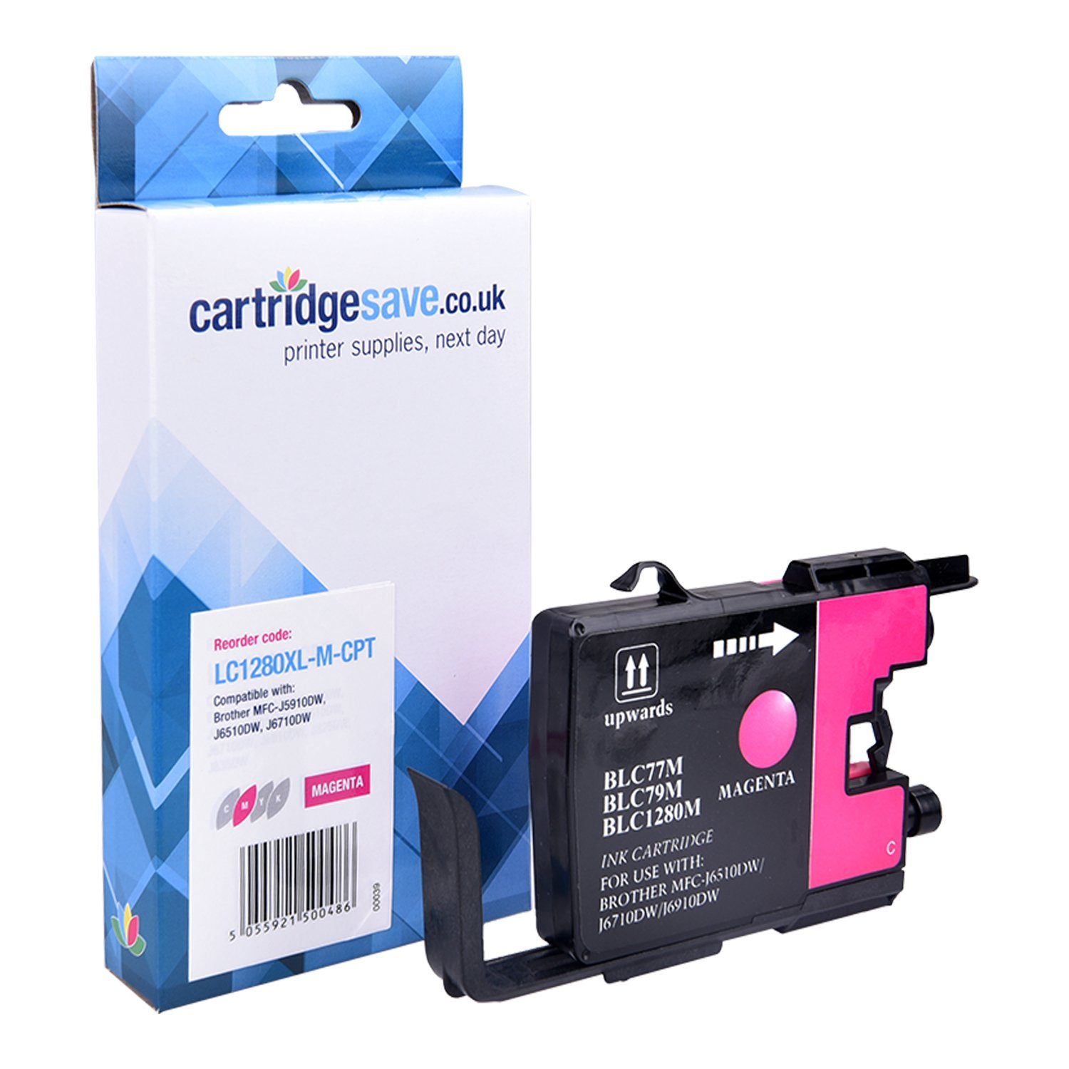 Compatible High Capacity Magenta Brother LC1280XL-M Ink Cartridge (Replaces LC-1280XLM Inkjet Printer Cartridge)
