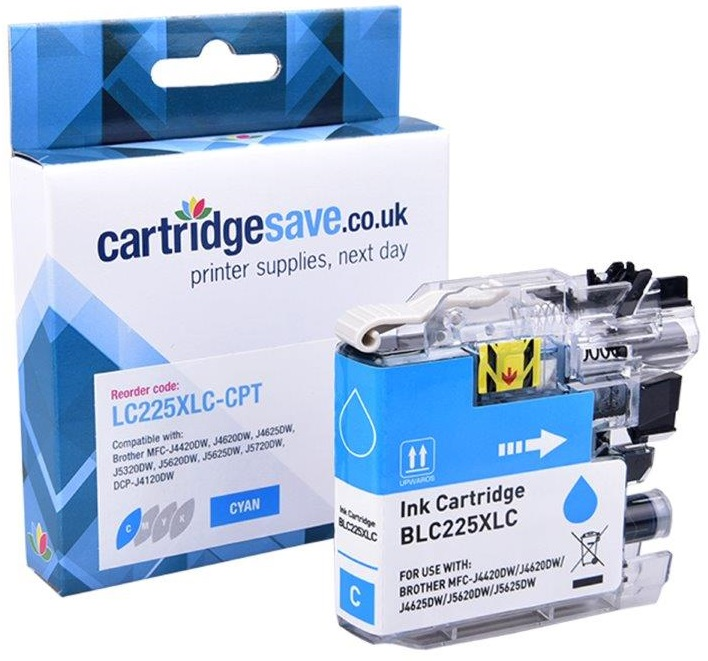 Compatible Brother LC225XL High Capacity Cyan Ink Cartridge (LC225XLC Inkjet Printer Cartridge)