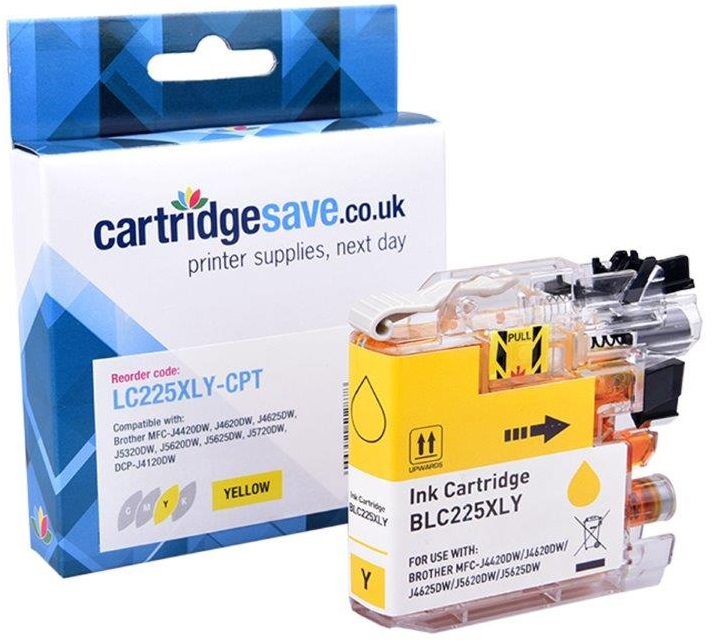 Compatible Brother LC225XL High Capacity Yellow Ink Cartridge (LC225XLY Inkjet Printer Cartridge)