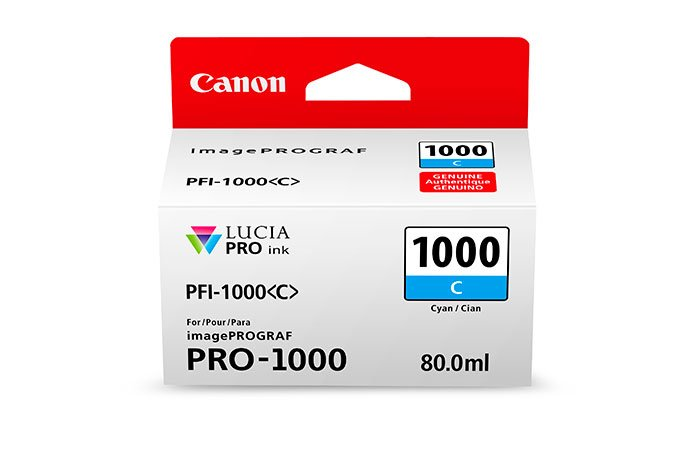 Genuine Cyan Canon PFI-1000C Ink Cartridge - (PFI1000C)