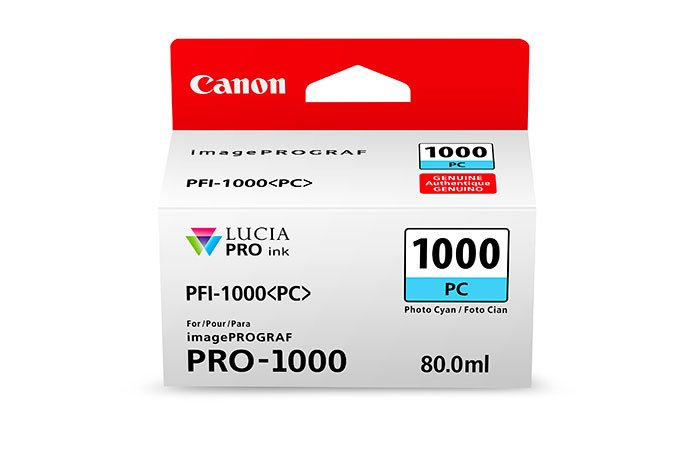 Genuine Photo Cyan Canon PFI-1000PC Ink Cartridge - (PFI1000PC)