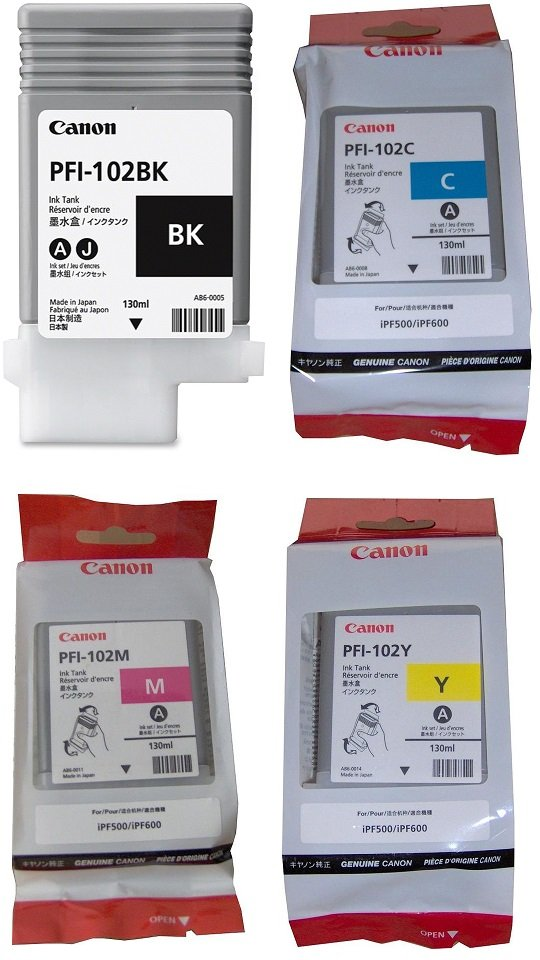 Genuine 4 Colour Canon PFI-102 Ink Cartridge Multipack - (PFI-102BK/C/M/Y)