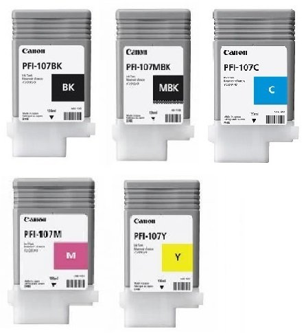 Genuine 5 Colour Canon PFI-107 Ink Cartridge Multipack - (PFI-107BK/MBK/C/M/Y)
