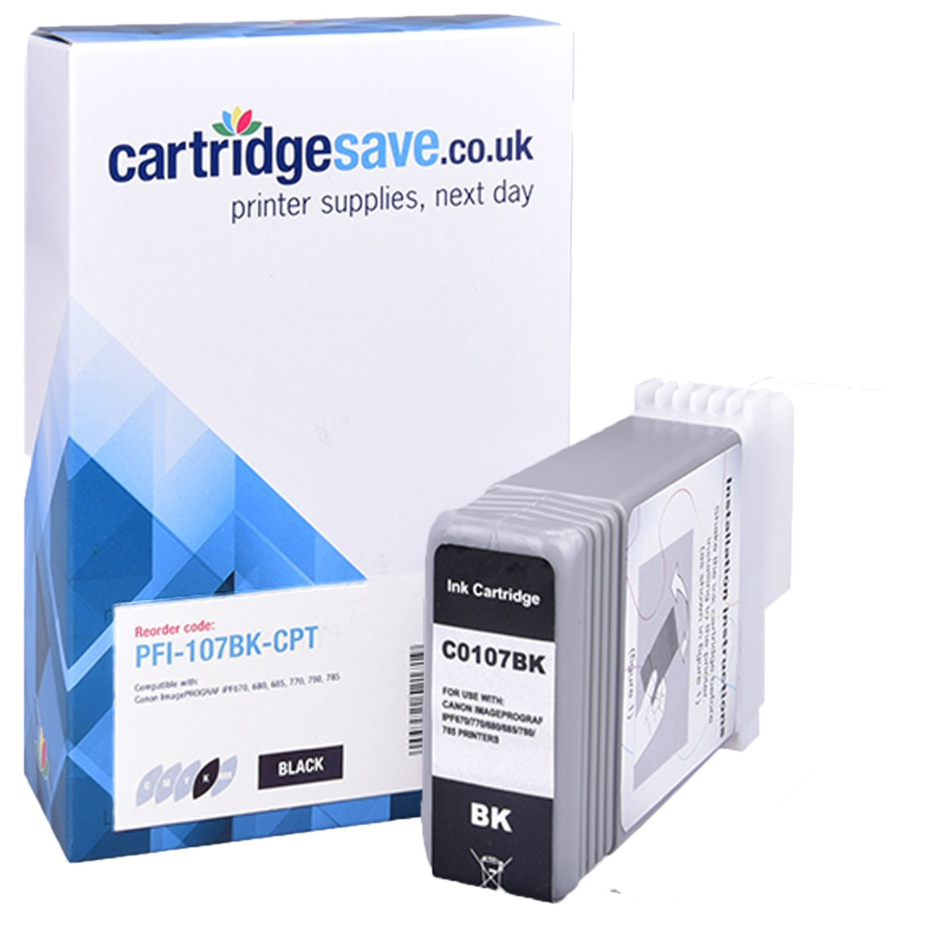 Compatible Black Canon PFI-107BK Ink Cartridge - (Replaces 6705B001AA)