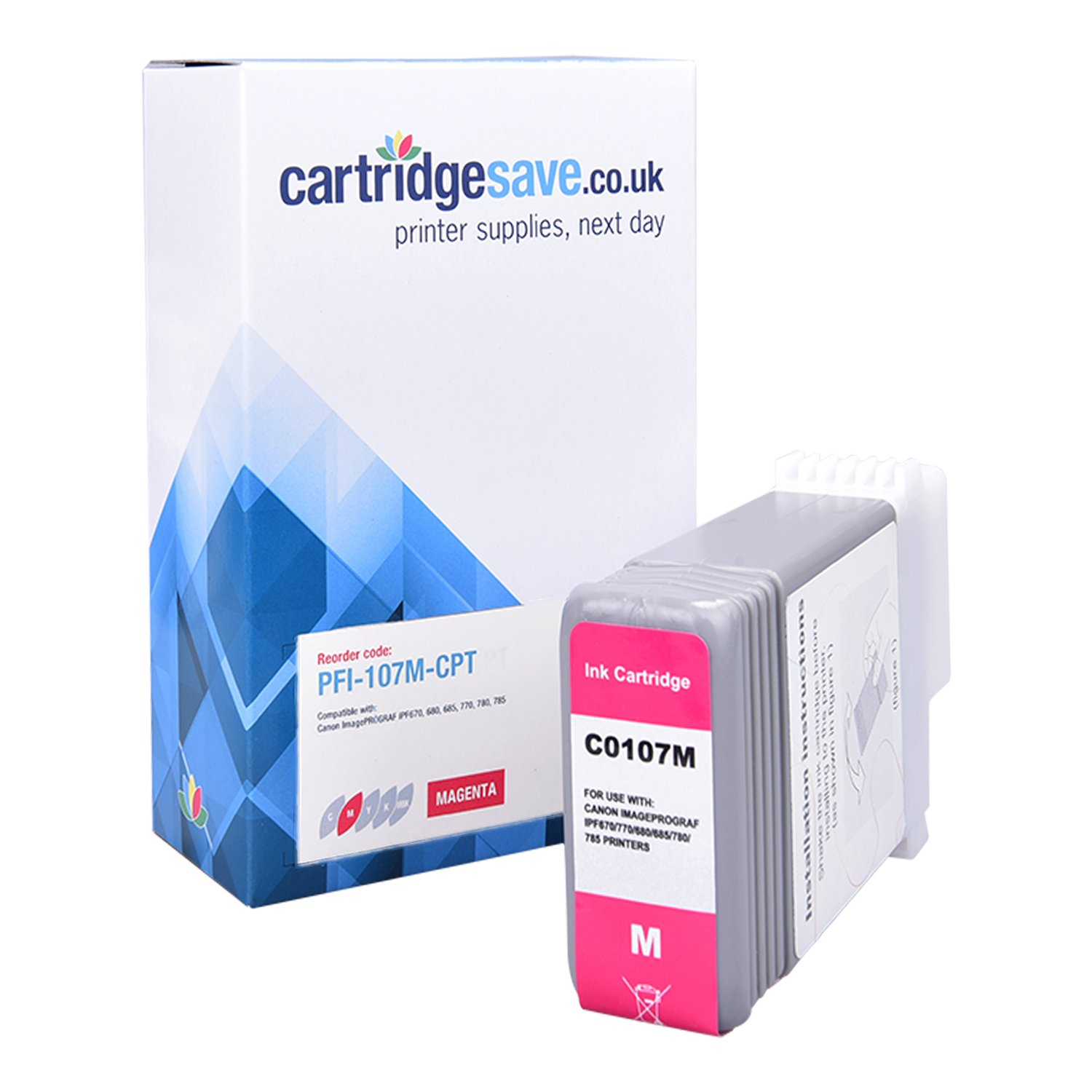 Compatible Magenta Canon PFI-107M Ink Cartridge - (Replaces 6707B001AA)