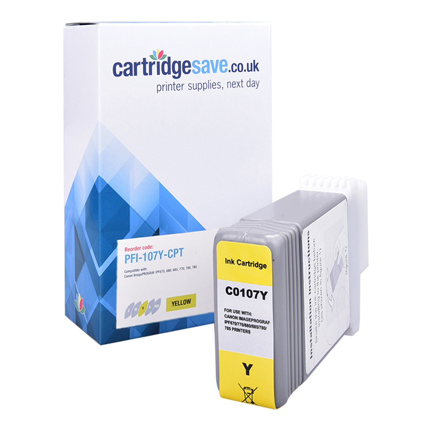 Compatible Yellow Canon PFI-107Y Ink Cartridge - (Replaces 6708B001AA)