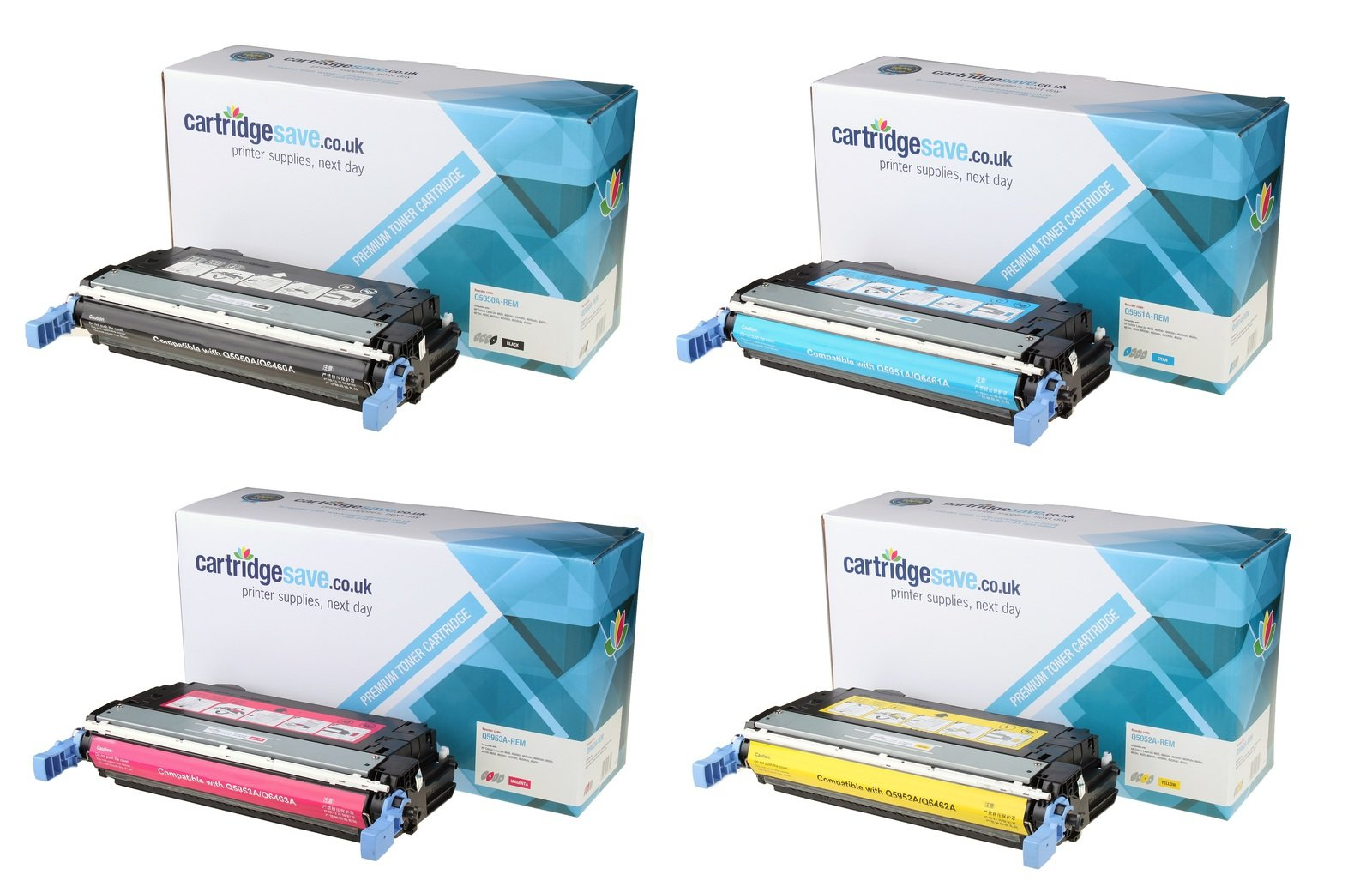 Compatible 4 Colour HP 643A Toner Cartridge Multipack (Q5950A/Q5951A/Q5952A/Q5953A)