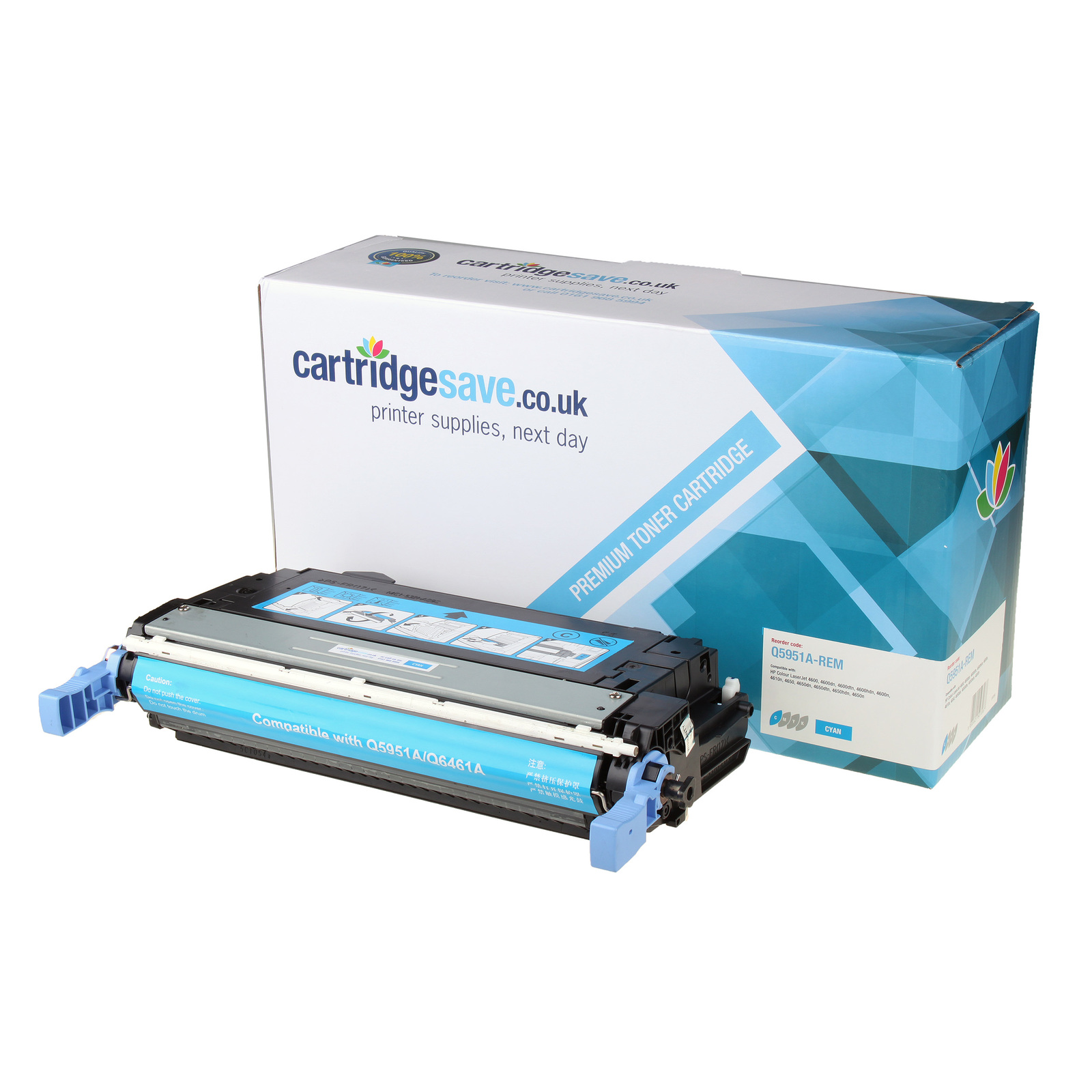 Compatible HP 643A Cyan Toner Cartridge (Replaces Q5951A Laser Printer Cartridge)