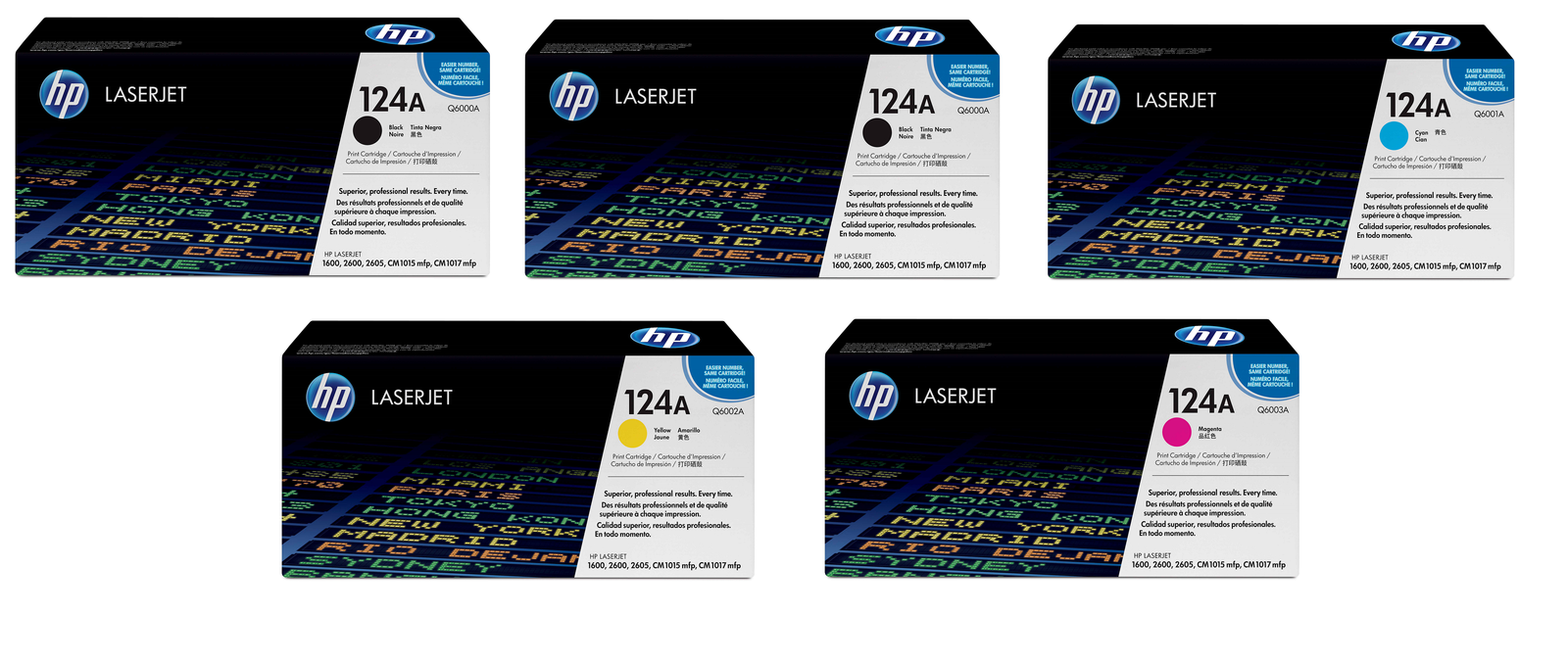 Genuine 5 Colour HP 124A Toner Cartridge Multipack - (2 x Q6000A/Q6001A/Q6002A/Q6003A)