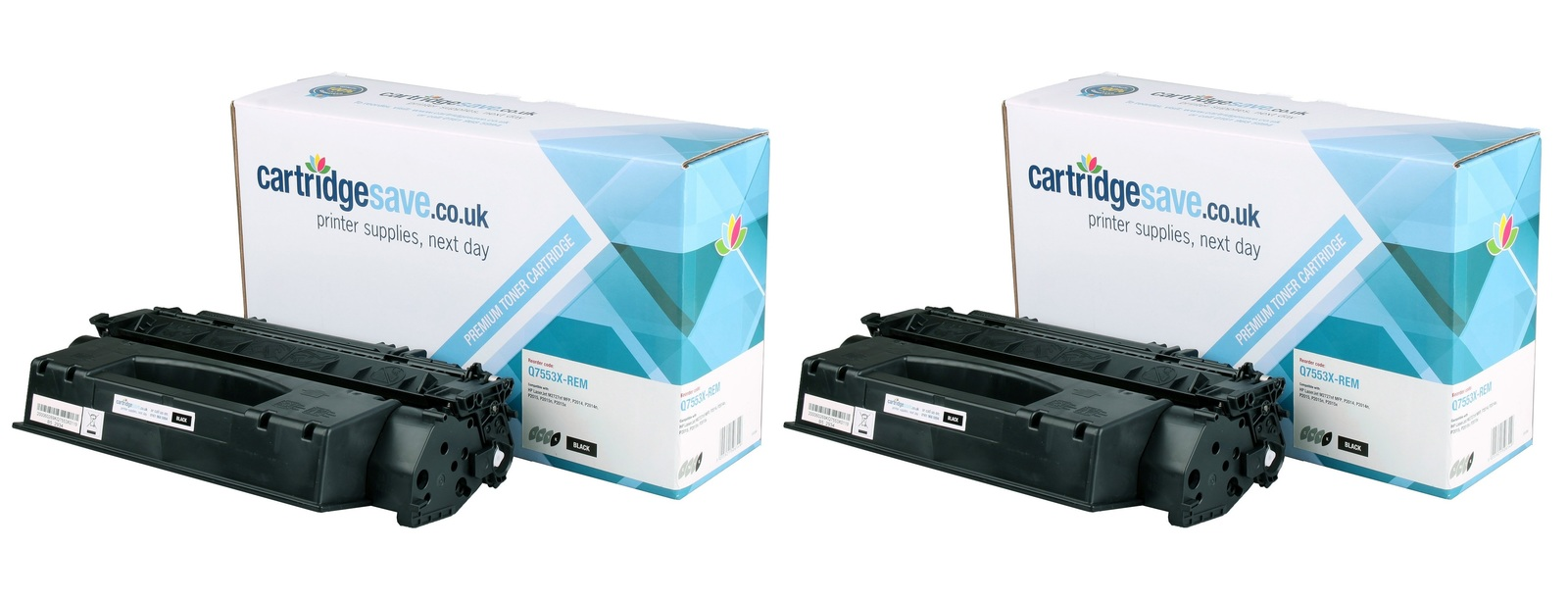 Compatible High Capacity Twin Pack Black HP 53X Laser Toner - (HP Q7553XD Toner Multipack)