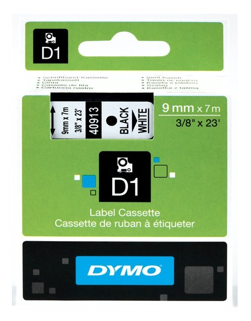 Genuine Dymo 40913 Black On White D1 Labelling Tape 9mm x 7m (S0720680 Tape)