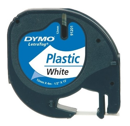 Genuine Dymo 91201 Black On White LetraTag Label Plastic Tape 12mm x 4m (S0721610 Tape)